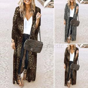 Women Long Sleeve Leopard Printed Cardigan Casual Loose Full Length Coat Outwear