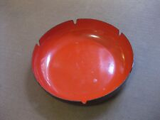 "vintage mid-century modern design -STEEL ENAMEL -POLAND VIKING - ASHTRAY 8"" red"