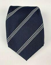 Paul Stuart 7 Fold Silk Made in Italy Striped Tie Navy