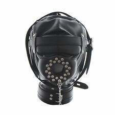 Leather Gimp Full covered Mask Hood with openable cover plug restraint