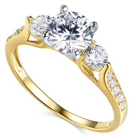 2.25 Ct 3-Stone Engagement Wedding Ring Real Solid 14kt Yellow Gold