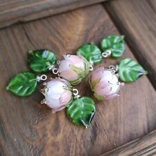 Lampwork Beads, Set of 9pc Glass Beads: 3 flower beads and 6 leaves beads