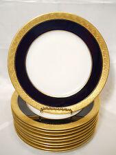 PIRKENHAMMER #2545 SET 9 GOLD & LEAF ENCRUSTED DINNER PLATES COBALT BAND