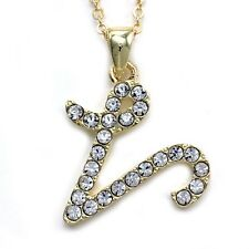 NEW Initial Alphabet Letter V Pendant Necklace High Polish Gold Tone Clear Charm