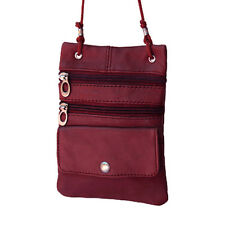 Genuine  Wine Lambskin Leather Travel Crossbody Shoulder Bag