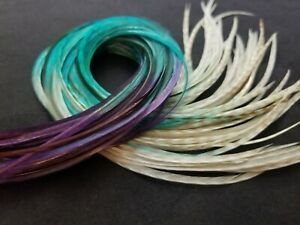 """long feather extensions Ghost Grizzly white purple turquoise ombre beads 12-14"""""""