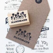 'Handmade' With Flowers Design Wooden Rubber Stamp / Craft / Scrapbooking