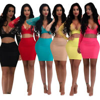 Womens 2 Piece Bodycon Crop Top + Skirt Set Bandage Dress Party Long Sleeve Lace