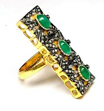 Antique Ring 92.5 Starling Silver Emerald Gemstone Beautiful Diamond Ring For