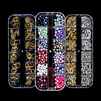 Nail Art Rhinestones Crystals Gems Beads Charms Pearl Shapes 3D Sequins