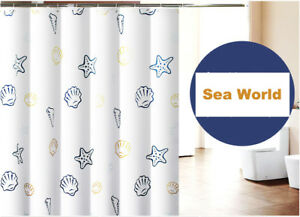 Waterproof Sea World Bathroom Shower Curtain Polyester Thick Soft Fabric White