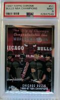 1997 97-98 Topps Chrome Bulls NBA Champions #51, Michael Jordan, Graded PSA 9