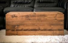 Wooden Storage Trunk, Blanket Chest Rustic Farmhouse Style Coffee Table Decor