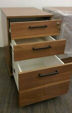 Pedestall brown filling cabinet ,3-draw,underdesk lockable, dark walnut veneer