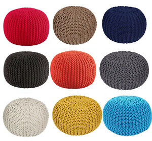 50cm Ottoman Double Knitted Pouffe Footstool Round Cotton Seat Rest Large Chunky