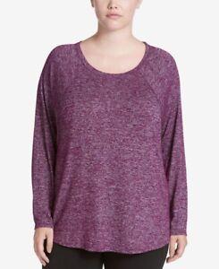 Calvin Klein Plus Size Long-Sleeve Heathered Merlot 3X