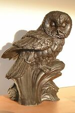 """Fine Cast Bronze Resin Sculpture, Heredities Owl, Tom Mackie Signed 9"""" Tall"""