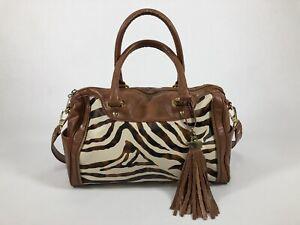 Kate Landry Ladies Crossbody Reversible Camel Faux Animal Print/plain Leather