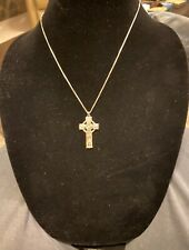 Sterling Silver Cross Embossed  and SS Chain