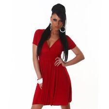 Sexy Kurzarm Minikleid Kleid Stretch Cocktailkleid Tanzkleid Rot  34 36 38