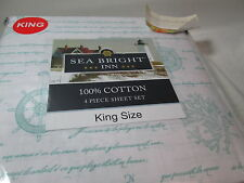 New Checkers LLC Sea Bright Inn SHIP WHEELS Blue King Sheet Set ~ Coral, Compass