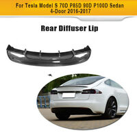 Carbon Fiber Rear Bumper Diffuser Lip Fit For Tesla Model S 70D Sedan 4-D 16-17