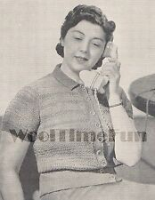"Vintage Knitting Pattern Lady's 1940s Blouse/Cardigan Short/Long Sleeves 38""-40"""