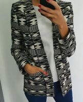 Asos Warehouse stunning print black and cream monochrome jacket/blazer size UK 8
