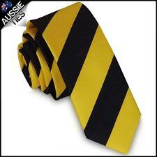Mens Yellow & Black Stripes Men's Narrow Slim Thin Skinny Tie