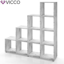 VICCO Treppenregal 10 Fächer Grau Beton - Raumteiler Stufenregal Bücherregal