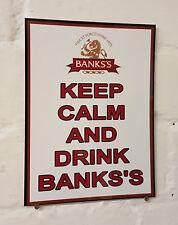 Keep Calm Y Bebida bancos'S Retro Metal Aluminio signo amargo leves signos de cerveza
