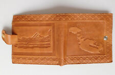 Leather wallet Malta embossed map dghajsa boat Maltese water taxi Gozo Comino