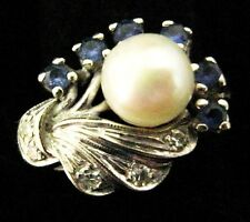 Lovely Vintage 14ct White Gold Pearl Diamond & Sapphire Ring Size 15/55/7.25/N.5