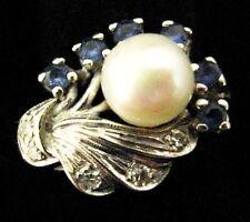 Hermosa Vintage 14 CT Oro Blanco Diamante & Zafiro Anillo De Perla Talla 15/55/7.25/N.5