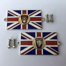 Pair of ROVER Union Jack GB Brass Enamel Classic Car Badges - Bolt On
