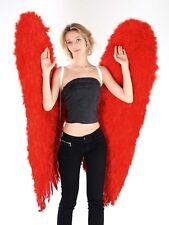 Ailes d'ange en plumes rouges grand modèle 140 cm plumes véritables [100071rouge