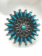 Vintage Sterling Silver Native American Zuni Petite Point Ring S 8 AA Turquoise