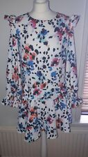 Blue and Pink Floral Spotted Ruffle Dress by Very size 12 BNWT