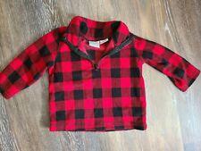 Baby Koala Boy's Black / Red Buffalo Plaid Fleece Sweater - Size 6 Months Euc