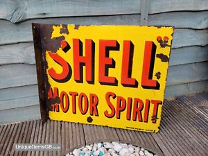 """Original Plaque Emaillee Flange Double Sided Shell Enamel Sign 21"""" x 18"""""""