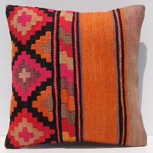 "16""x16"" home art Caucasian pillow case Handmade room decor square kilim area rug"