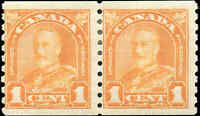 Canada Mint H 1930 1c F PAIR Scott #178 King George V Arch Leaf Coil Stamps