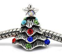 Silver Multi Colour Christmas Tree Star Charms Bead For Charm Bracelets