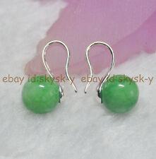 Pretty natural 10mm round Emerald gemstone Beads silver Hook Dangle Earrings AA