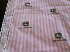 BTY JOHN DEERE Pink Stripe COTTON FABRIC Brown Deer Logo SEWING Craft Kids
