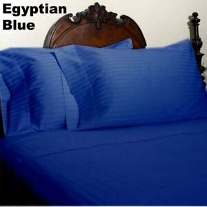 Egyptian Blue Striped King Bed Sheet Set 1000 Thread Count 100% Egyptian Cotton