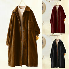 Plus Size Women Retro Pockets Long Coat Trench Corduroy Jacket Loose Outwear