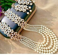 WHITE PEARL INDIAN NECKLACE SET RANI HAAR BOLLYWOOD WEDDING JEWELRY