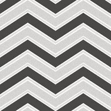 Coloroll Chevron Geometric Wave Black White Silver Glitter Wallpaper - M1147