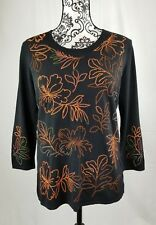 Mirasol womens stretch knit floral stitch top 3/4 length sleeves size large b28